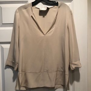 Cream/nude Silk Three Quarter Sleeve Blouse